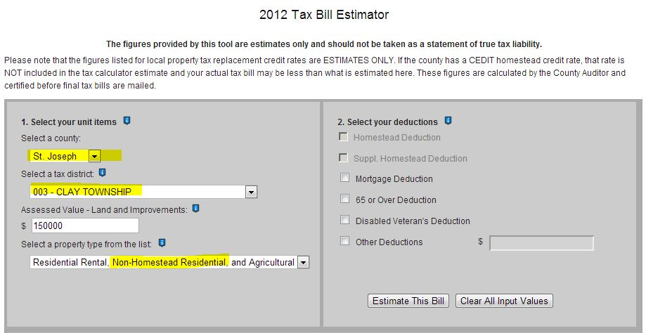 Indiana 2012 tax bill calculator- no homestead exemption