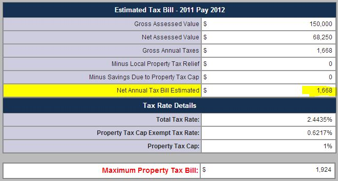 Indiana 2012 tax bill calculator- with homestead exemption results