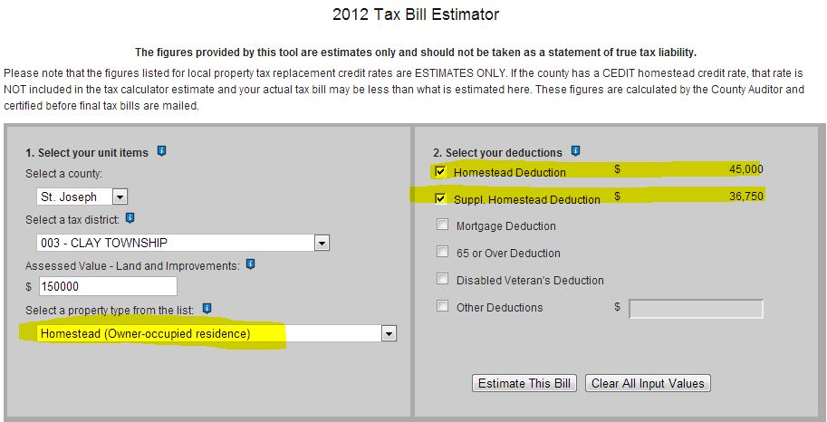 Indiana 2012 tax bill calculator- with homestead exemption