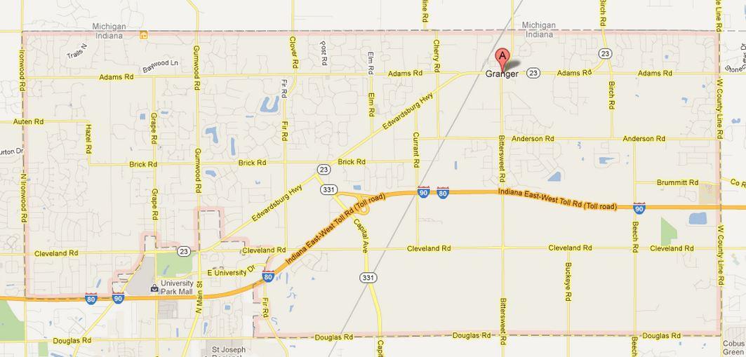 Granger Indiana Map